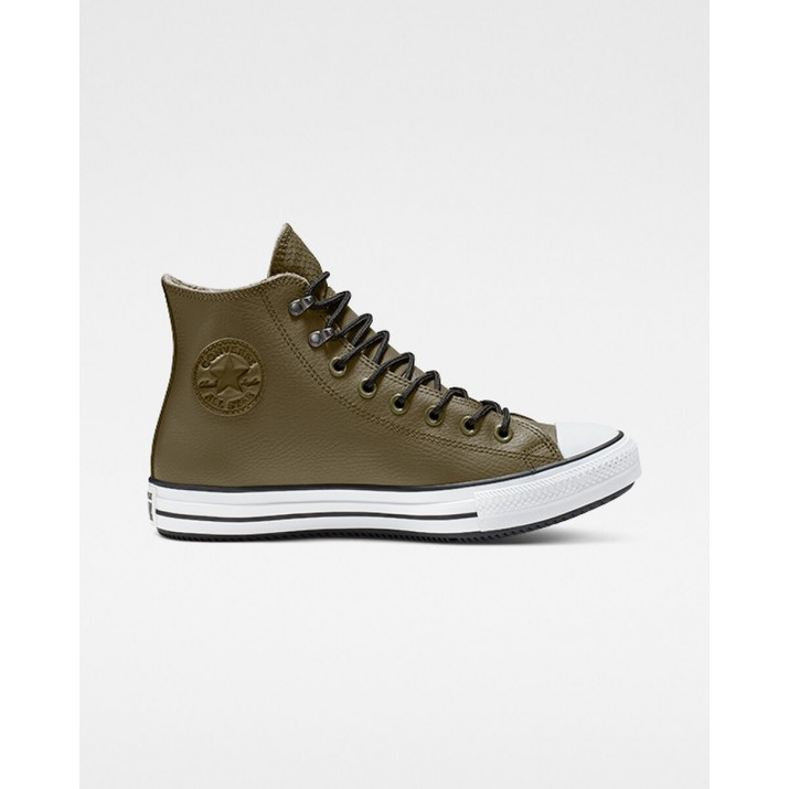 Mens Converse Chuck Taylor All Star Shoes Olive/Black/White 202JNVAL