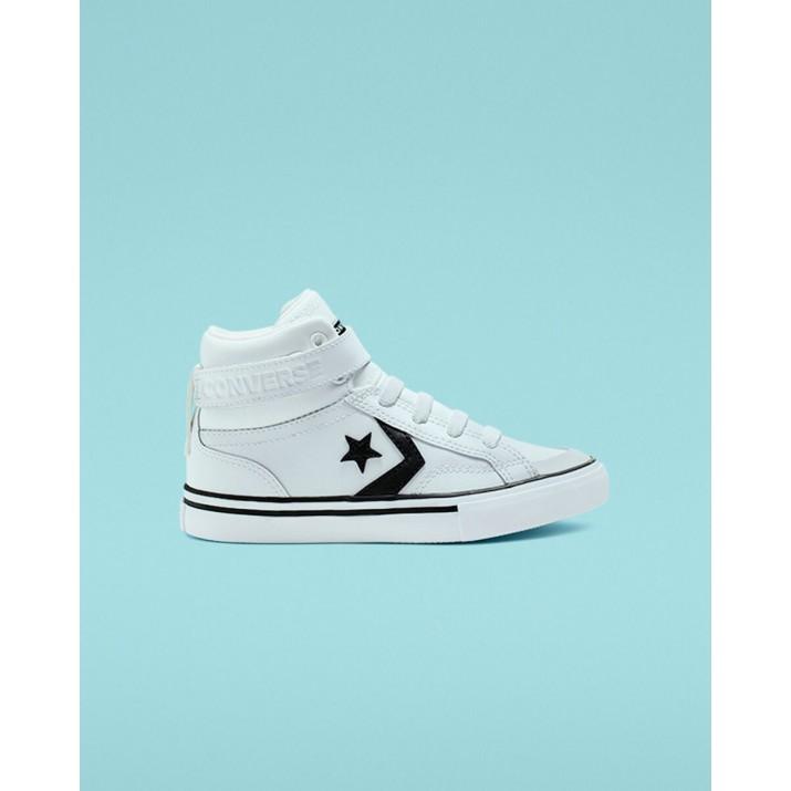 Kids Converse Pro Blaze Strap Shoes White/Black/White 383VRENZ