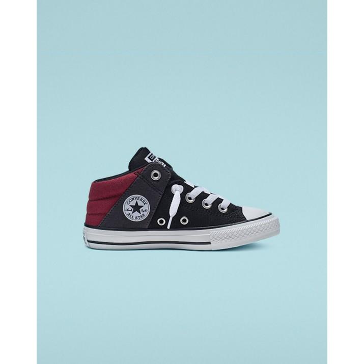 Kids Converse Chuck Taylor All Star Shoes Black/Dark Red/White 496TFSIU