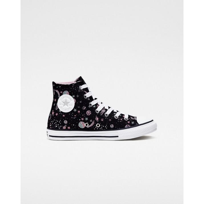 Kids Converse Chuck Taylor All Star Shoes Black/White/Silver 884KURIV