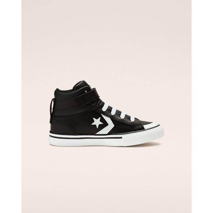 Kids Converse Pro Blaze Strap Shoes Black/White 908YFPIL